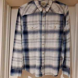 Lucky Brand blue and white causal button down